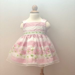 Other - Striped Floral Embroidered Dress